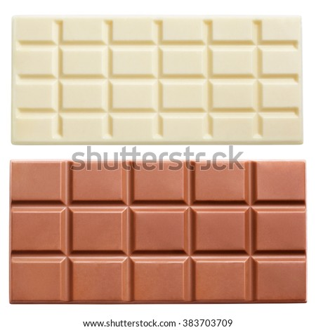 Dark and light milk chocolate bars isolated on white background with clipping path - stock photo