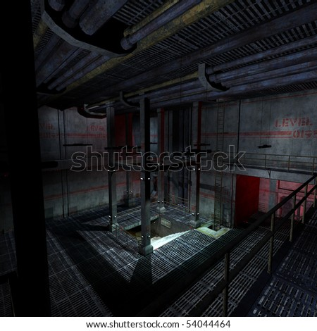 dark and scary place in a scifi setting. 3D rendering with clipping path and shadow over white - stock photo