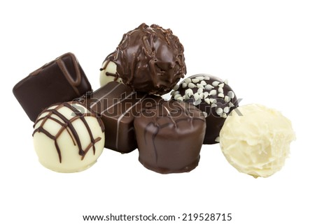 Dark and white chocolate on a white background  - stock photo