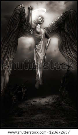 Dark angel hovering above the ground