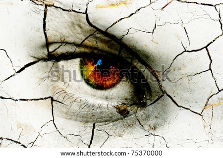 Dark art texture of a woman's eye with cracks - stock photo