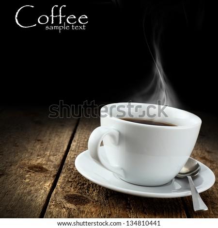 dark background and coffee - stock photo