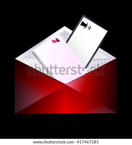 dark background and the envelope with couple cards inside
