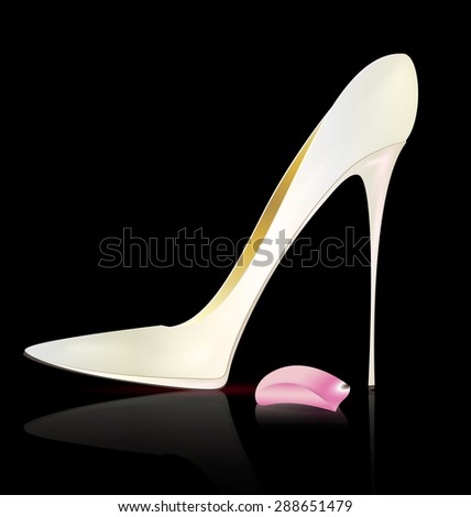 dark background and the white ladys shoe  - stock photo