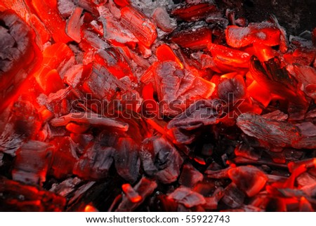Dark background from the burning charcoal - stock photo