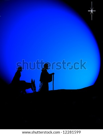 Dark background with Mary and Joseph on their long journey - stock photo