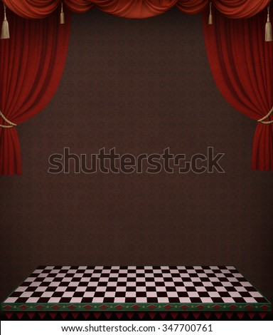 Dark background with red curtains to cover poster or illustration.  - stock photo