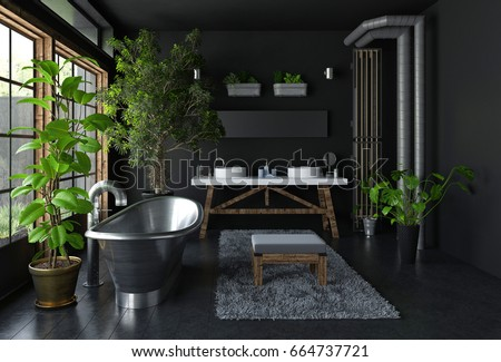 Dark Bathroom Interior Concept With Shiny Metal Freestanding Bath Lots Of Green Potted Plants And