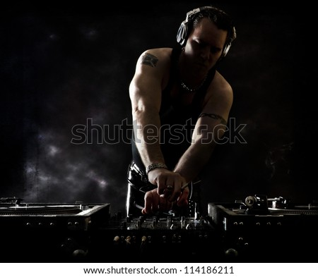 Dark Beats - DJ Mixing - stock photo