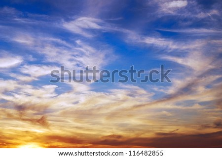 dark beautiful sky at sunset - stock photo
