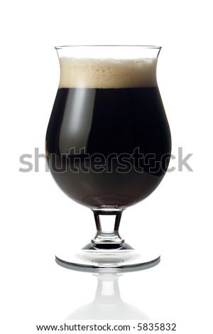 Dark beer against white background - stock photo