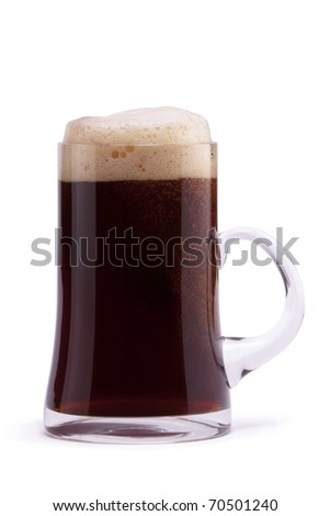 Dark beer in mug on white background