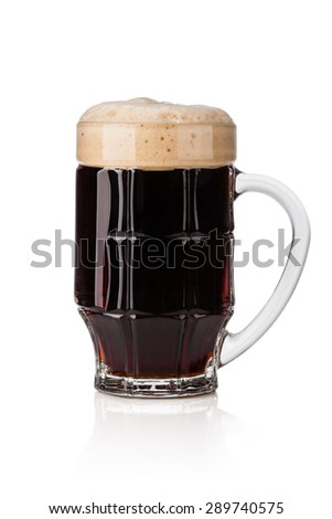 dark beer isolated on white background - stock photo