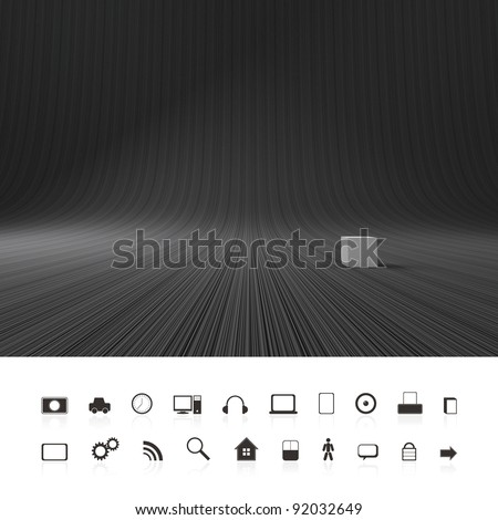 Dark, black, abstract, creative background. 3d Illustration - stock photo