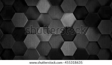 Dark Black and White Hexagonal Tile Background - 3D Illustration