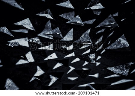 dark black and white triangle background - stock photo