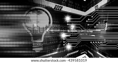 Dark black Light Abstract Technology background for computer graphic website internet business. circuit. illustration. infographics. motion move blur.neon. Brainstorm, Brain. Bulb Ideas - stock photo