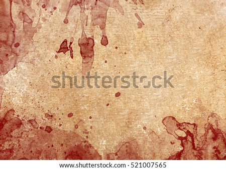 Dark blood stains on old paper