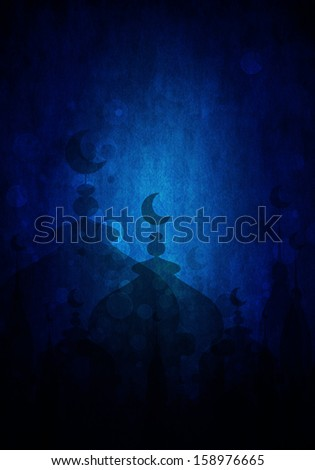 dark blue abstract background for eid mubarak festival - stock photo
