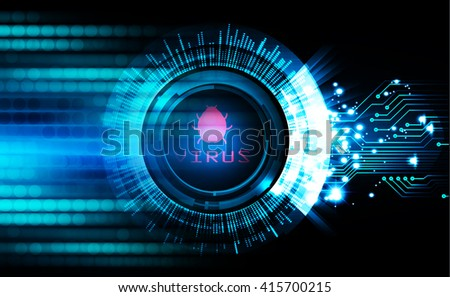 dark blue Abstract digital conceptual technology security background with lock. virus computer - stock photo