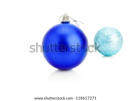 Dark blue and blue  christmas balls isolated on a white  background. - stock photo