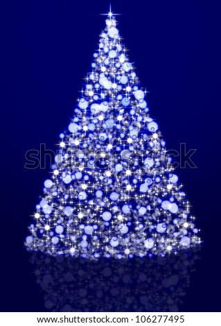 Dark blue background and shining Christmas tree - stock photo