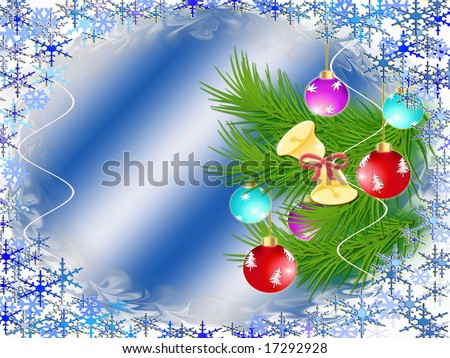 Dark blue background with a Christmas ornament and snowflakes
