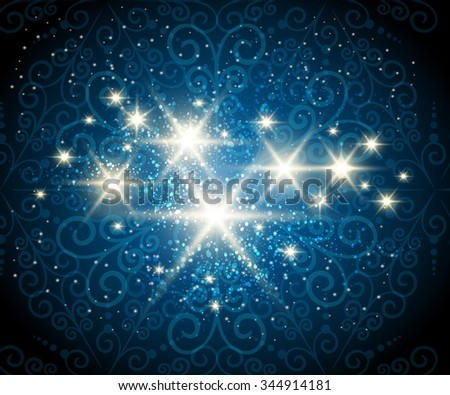 Dark blue background with shining stars against see through swirls pattern - stock photo