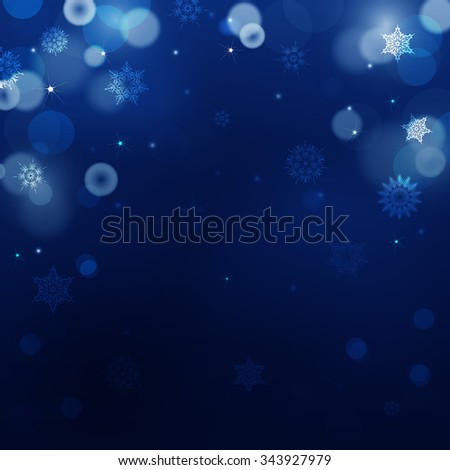 Dark blue blur background for christmas with snowflakes. Holiday abstract background with bokeh. Can be use for new year, christmas or night party. Raster version - stock photo