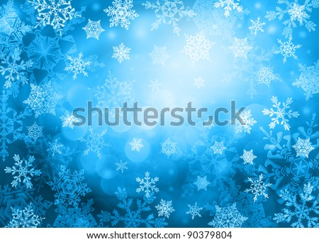Dark blue bright Christmas background with snowflakes in different sizes. Snowflakes are drawn from these natural snowflakes.