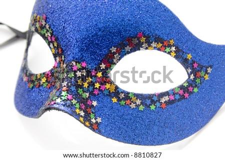 Dark Blue carnival mask isolated on white - stock photo