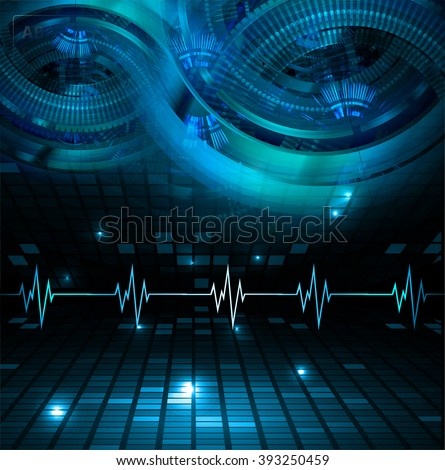 dark blue color Light Abstract Technology background for computer graphic website internet and business. circuit. illustration. digital. infographics. binary code. eye. Global. gear - stock photo