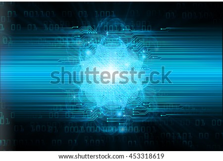 dark blue color Light Abstract Technology background for computer graphic website internet and business. circuit. illustration. digital. infographics. binary code background. eye. Global - stock photo