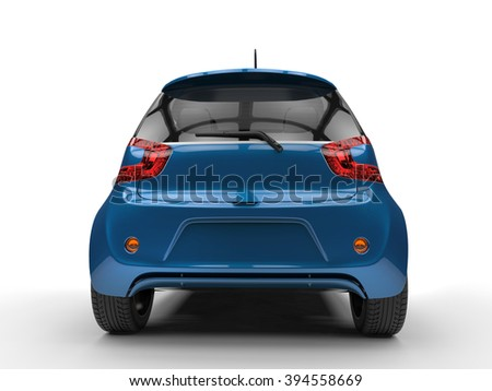 Dark Blue Compact Car - Glossy Paint - Rear View - stock photo