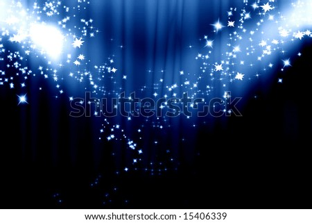 Dark blue curtain background with spotlights on it - stock photo