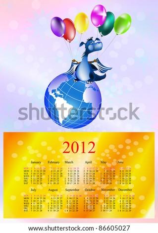 Dark blue dragon-New Year's a symbol of 2012.2012 Calendar - stock photo