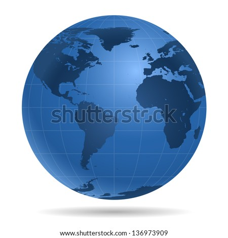 Dark blue Earth globe.  View on North America, South America,  Europe, Africa, Antarctica - icon isolated on white background.
