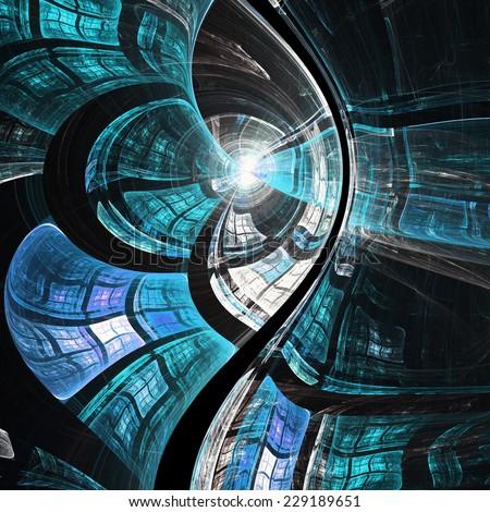 Dark blue fractal texture, digital artwork for creative graphic design - stock photo