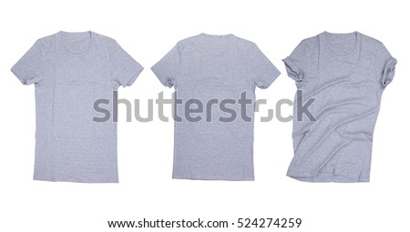 Dark blue gray t-shirt isolated, Gray t-shirt on white background