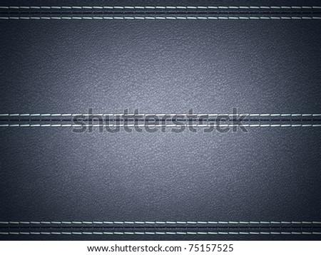 Dark Blue horizontal stitched leather background. Large resolution - stock photo