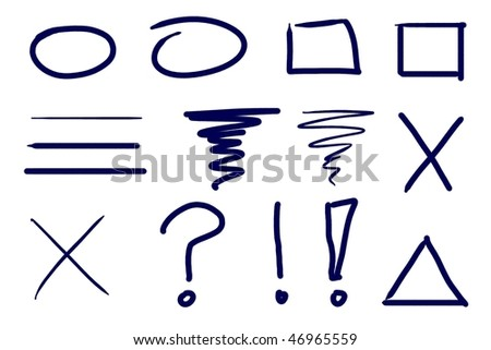 Dark blue ink symbol and design element set. Real media illustration. - stock photo
