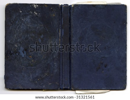 Dark blue leather hardback book cover with spine blank for text design - stock photo