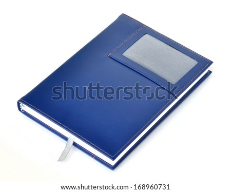Dark blue leather notebook - stock photo