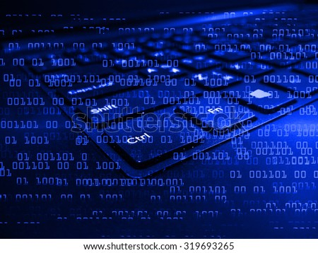 Dark blue Light Abstract Technology background for computer graphic website internet business. circuit. illustration. infographics. motion move blur.neon.high tech keyboard with binary number
