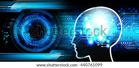 Dark blue Light Abstract Technology background for computer graphic website internet business. circuit. illustration. infographics. motion move neon. Brainstorm, Brain. Bulb Ideas - stock photo