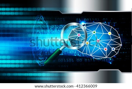 Dark blue Light Abstract Technology background for computer graphic website internet. circuit. illustration. infographics. motion move blur.neon. Brainstorm, Brain. Bulb Ideas., Magnifying Glass - stock photo