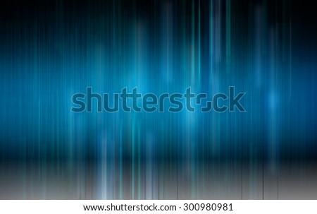 dark blue light and stripes moving fast over dark background. illustration. horizontal blur. motion move. technology - stock photo