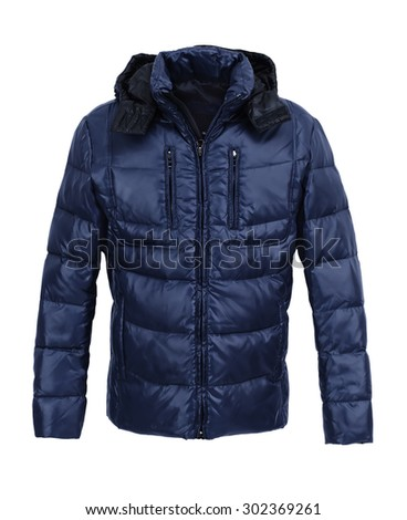 Dark Blue male winter jacket isolated on white background - stock photo
