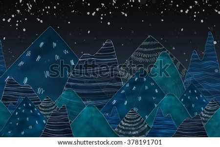 Dark blue mountains in the night.Used color tool and picture create to mountains. - stock photo