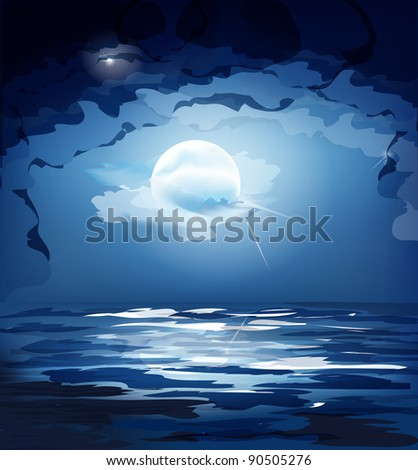 dark blue night sky, the moon and the sea (JPEG version) - stock photo
